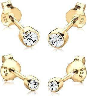 Elli Women Genuine Jewellery Earrings Stud Ear Sparkle Basic 925 Sterling Silver Gold Plated Swarovski Crystals