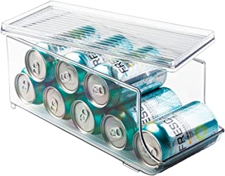 iDesign Plastic Canned Food and Soda Can Organizer with Lid for Refrigerator, Freezer, and Pantry for Organizing Tea, Pop, Beer, Water, BPA-Free, 13.75