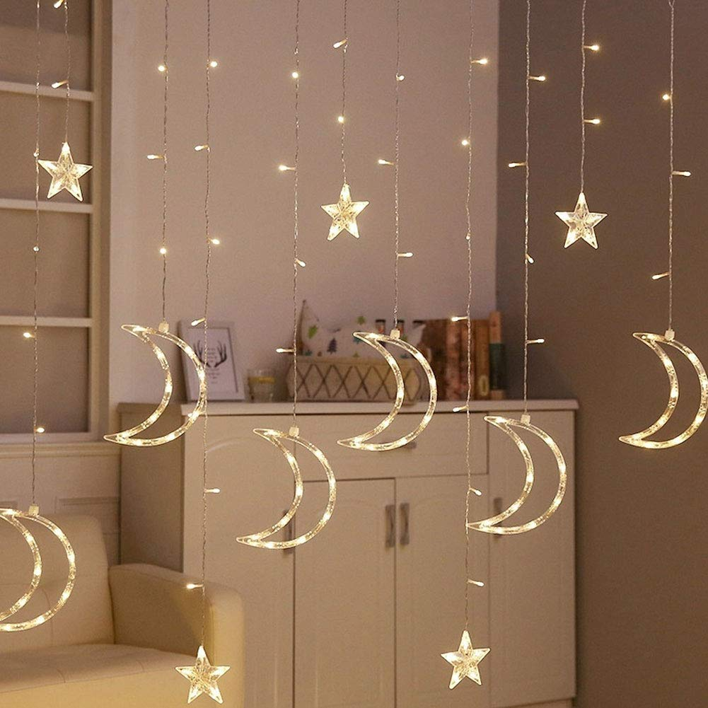 Garland Wedding Party Decor 3.5m Star Moon Fairy LED Lights Curtain Lamp String