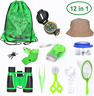 Outdoor Explorer Kit for Kids12-in-1 Bug Catching kit with Binoculars,Flashlight, Compass, Magnifying Glass, Bug Catcher Set Containers,Butterfly Net, Hat, Backpack Great Gift set for Camping, Hiking