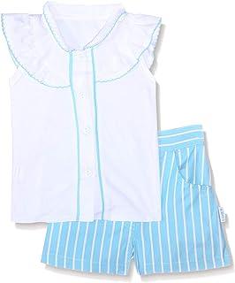 طقم ملابس قميص بأكمام قصيرة على الكتف بكرانيش واطراف مختلفة اللون مع شورت مخطط للبنات من لوميكس - ابيض وازرق، 12 -18 شهر