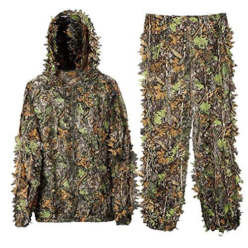 Upgrade-Ghillie Anzug, 3D Naturgetreue Leichte Kapuze Tarnkleidung Dschungel Waldaußen