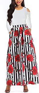 Two Pieces Dresses Women - Floral African Maxi Skirt with Pockets Off Shoulder Top Blouse S-6XL