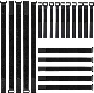 Attache cable,kitteny Lot de 20-Noir-avec crochet et boucle attache-câble en réutilisables sangles 3 tailles 20 pcs - noir