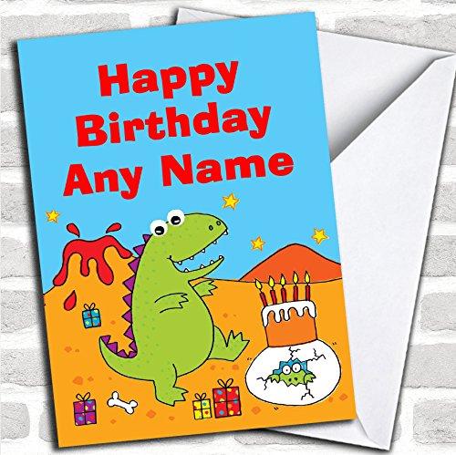 Kinder schattig dinosaurus verjaardagskaart met envelop, kan volledig worden gepersonaliseerd, snel en gratis verzonden