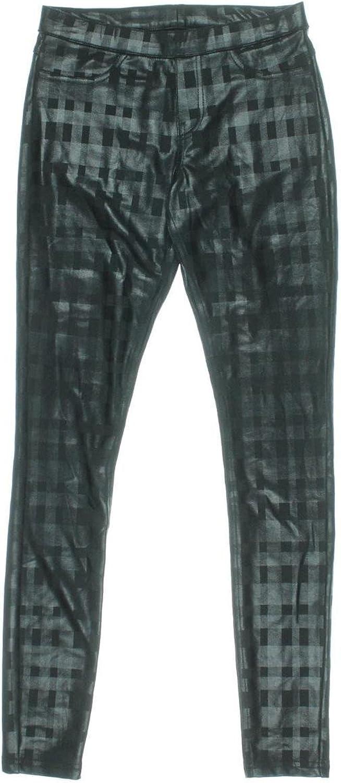 Hue Ponte Plaid Print Leggings Black Small