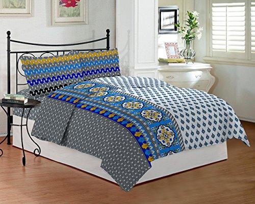 Bombay Dyeing TC-290 - Juego de sábanas para cama de matrimonio con impresión al tacto real (DSN-02) (lavanda)