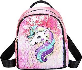 Mochila De Lentejuelas Brillantes Mini Unicornio para Niñas, Mochila Escolar con Cierre De Cremallera, Mochila De Viaje Duradera Y De Moda para Niños, Mochila con Tirantes Ajustables (Pink)