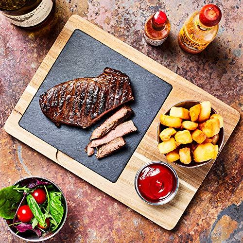 bar@drinkstuff Acacia Wood Serving Board 30 x 21cm - Serving Platter, Food Board, Burger Board, Wooden Board