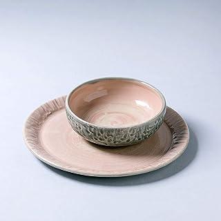 Juego de cerámica vintage rústico hecho a mano, 2 piezas, un plato y un cuenco, decoración del hogar, esmalte rosa claro y...