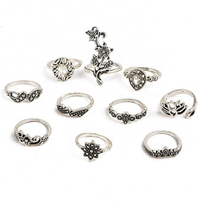 社会学高齢者生き返らせるUnderleaf 10個/セットボヘミアンヴィンテージフラワークリスタル指輪ジュエリー用女性ウェディングパーティーリングセット