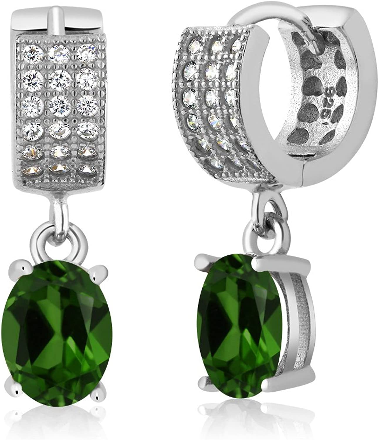 2.83 Ct Oval Green Chrome Diopside 925 Sterling Silver Earrings