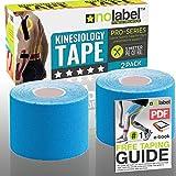 No Label Cinta Kinesiología Pre-Cortada Azul - Kinesiology Tape - Pre Cortada - KinesioTape Pre...