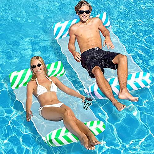 YOGINGO Aufblasbare Wasserhängematte, 4 in 1 Luftmatratze Pool, Tragbarer Schwimmstuhl, Aufblasbare Sessel Liegestühle Pool Spielzeug für Schwimmbäder, Strände(Blau)