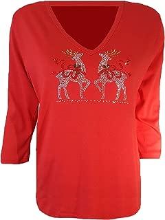 Reindeer Christmas Top Red Bling Rhinestone Embellished V Neck