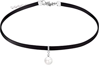 Black Choker Necklace for Women,Gold/Siver Accented Choker Necklace with Dainty Pendant