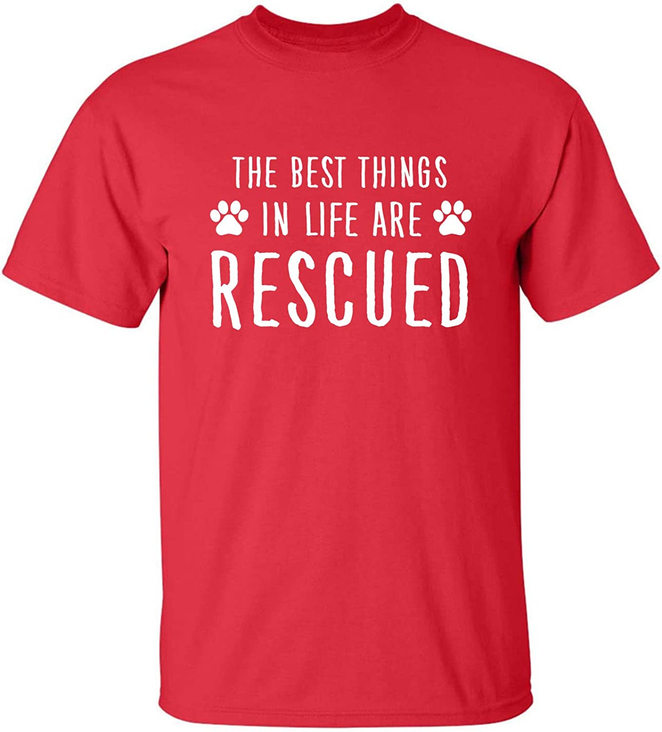 Best Things in Life are Rescued Adult T-Shirt in Red - XXXXX-Large