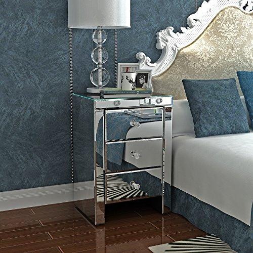 Keinode verspiegelter Nachttisch mit 3 Schubladen, Glaskristall-Griffen, Hochglanz-Möbel für Schlafzimmer, Wohnzimmer, Badezimmer Typ B
