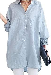 [フェイミー] ゆったり シャツ シンプル シャツワンピース チュニック バックボタン 2カラー M ~ 2XL レディース