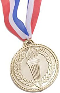 Rhode Island Novelty Olympic Style Gold Medal Replica with Red, White and Blue Lanyard