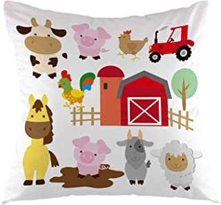 oFloral Farm Animal Pillowcase,Cute Cartoon Pig Cow Horse Sheep Goat Hen Rooster Throw Pillow Cover Square Cushion Case for Sofa Couch Car Bedroom Living Room Home Decorative 18