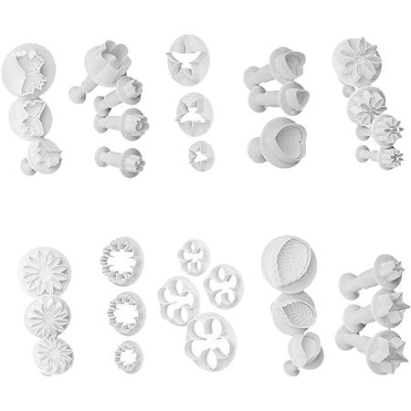 Moldes para fondant, 33 piezas, cortadores de fondant, cortadores de galletas, moldes de glaseado, moldes para hornear, herramientas de decoración de tartas, corazón, mariposa, estrella