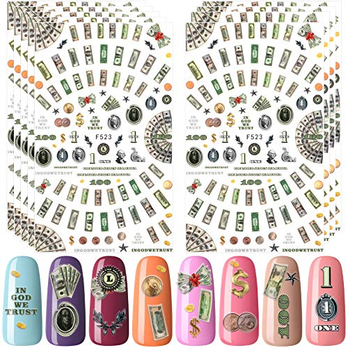 PAGOW 9 Sheets Money Dollar Nail Art Stickers, Wealthy Rich Style Nail Design Self-Adhesive Nail Decals Nail Art Decoration Supply for Women Girls