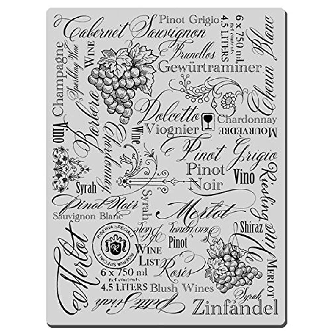 STAMPENDOUS CRR159 Cling Rubber Stamp, Wine Labels Image