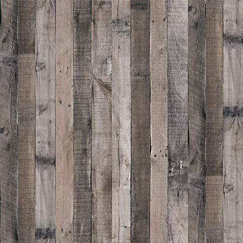 "Gray Wood Wallpaper Wood Peel and Stick Wallpaper 17.7""x 393.7""Faux Wood Plank Paper Wood Self Adhesive Removable Wall Decorative Reclaimed Wood Look Wallpaper Vinyl Film Shiplap Wood Panel Wallpaper"