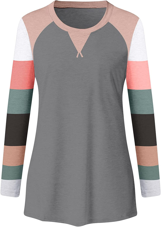 POLLYANNA KEONG Womens Long Sleeve Tops Casual,Womens Vintage Graphic Loose Crewneck Sweatshirt Casual Tunic Blouses