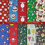 aufodara 10 Stück Baumwollstoff Weihnachten Stoffpakete