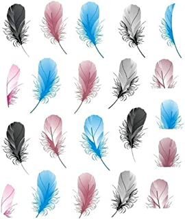 (1Pcs/Sell) Feather DIY Designer Transfer Nails Art Sticker Colorful Fantacy Flowers Nail Stickers Wraps Foil Sticker manicure,Ivory