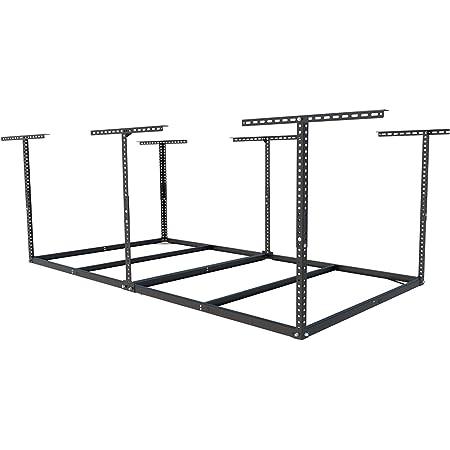 "FLEXIMOUNTS 4x8 Overhead Garage Storage Rack without Decking Adjustable Ceiling Garage Rack Heavy Duty, 600lbs Weight Capacity 96"" Length x 48"" Width x (22''-40"" Ceiling Dropdown), Black"