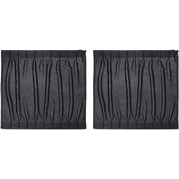 2 Pcs 50s Car Door Windshield Sun Shade Adjustable Side Window Curtain SunShade Drape Visor Valance Curtain Black Aramox Car Window Curtain