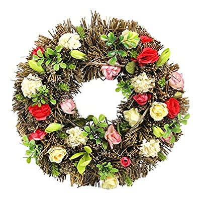 """DearSun 14"""" Exquisite handicrafts Flower Wreath for Spring and Easter Decor, Decorated with Artificial Flowers"""