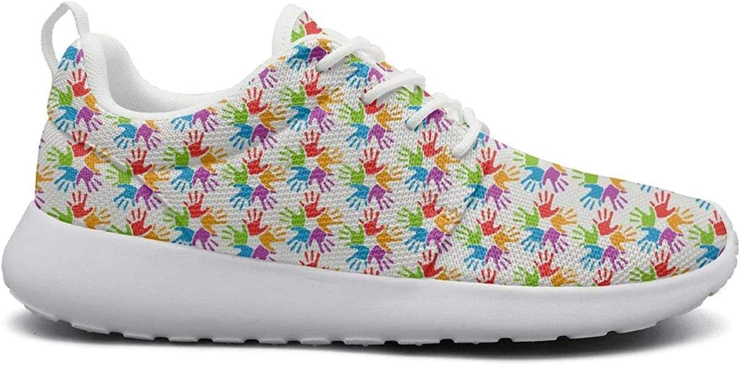 Gjsonmv Happy Holi Vector Palm Surround mesh Lightweight shoes for Women lace up Sports Tennis Sneakers shoes