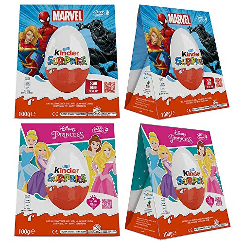 Kinder Surprise Maxi Easter Egg for Boys -100g and Giant Princess Easter Egg for Girls - 100g (Pack of 2)