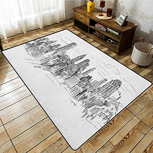 Living Room Area Rug,New York,Hand Drawn NYC Cityscape Tourism Travel Industrial Center Town Modern City Design,Easy Clean Rugs Grey White
