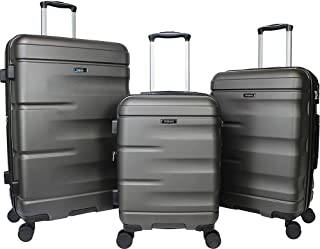 Dejuno Emerson 3-Piece Hardside Expandable Spinner Luggage Set-Charcoal