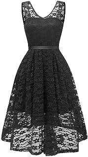 エレガントなドレス 女性のレトロノースリーブレースのドレススリムフィットドレスヴィンテージカクテルパーティーイブニングウエディングドレス女性のため 快適なスカート (色 : ブラック, サイズ : M)