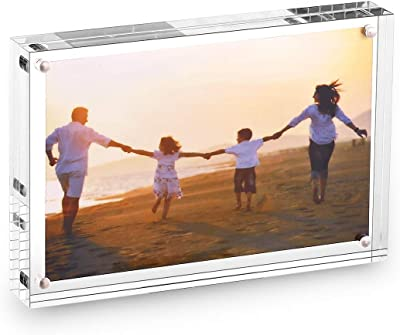 Acrylic Magnetic Photo Picture Frame Clear Double Sided Frames Pack Desktop Holder 8 x 10 Inches Display Photos on Both Sides with Base Stand