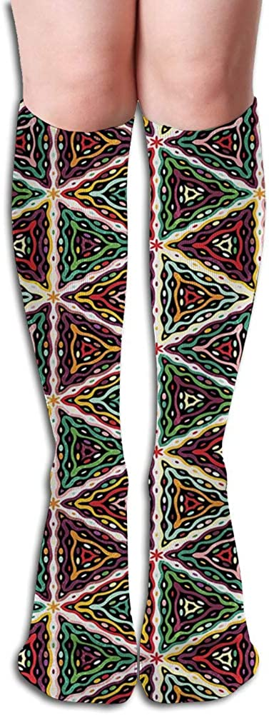 Men's and Women's Funny Casual Combed Cotton Socks,Grunge Triangle Design Colorful Geometric Mosaic Traditional Batik Pattern Retro