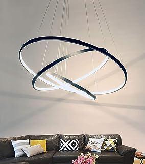 Lámpara Redonda Moderna LED 3 Luces De Techo De Dormitorio De Anillo Pantalla De Acrílico De Metal De 3 Círculos Iluminación De Sala De Estar Ajustable En Altura,Negro,80 * 60 * 40CM