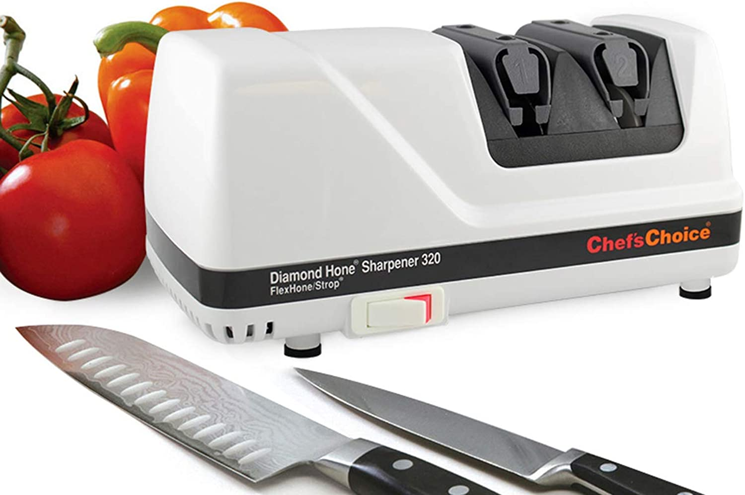 Chef'sChoice 320 Diamond Hone FlexHone Strop Professional Compact Electric Knife Sharpener with Diamond Abrasives and Precision Angle Control, 2-Stage, White