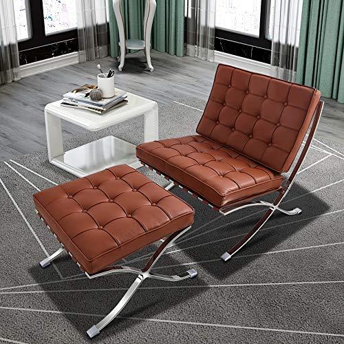 JWWS Sedia pieghevole in vera pelle con poggiapiedi in stile Barcellona, con struttura in acciaio inox e cuscino in spugna ad alta densità, per camera da letto, soggiorno, sala lettura, ufficio
