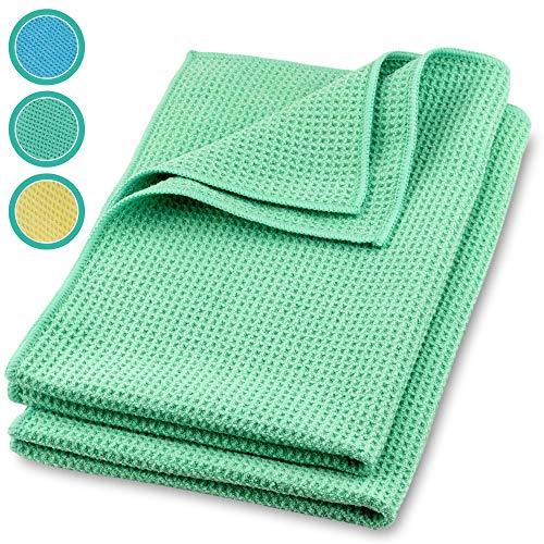 ELEXACLEAN Mikrofaser Trockentuch, Premium Waffeltuch (2 Stück, 60x40 cm, Grün) superweiche Qualität für Auto, Glas, Küche, Geschirr, Bad