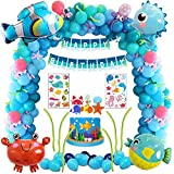 Blue Sea Birthday Party Decoration, Under the Sea Ocean Theme Baby Shower Party Decorations for Kids Girls Boys Seahorse Puffer Fish Octopus Crab Marine Animals Starfish Balloon Happy Birthday Banner
