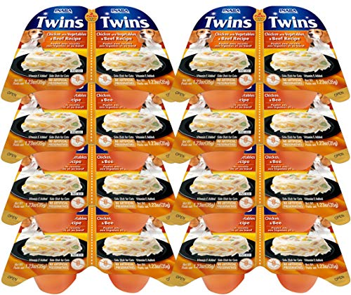 INABA Twins Chicken with Vegetables & Cheese Recipe (Side Dish for Dogs) 8 -2 Packs, Blue (IND833)