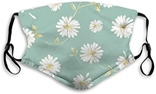 Washable Face Mask Guard with Replaceable Filter Activated Carbon Dust Cover Hand Drawn White Daisies Flower Simplistic Fl...