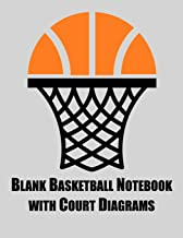 Blank Basketball Notebook with Court Diagrams: Notebook with blank basketball court diagrams, notes, and undated calendar